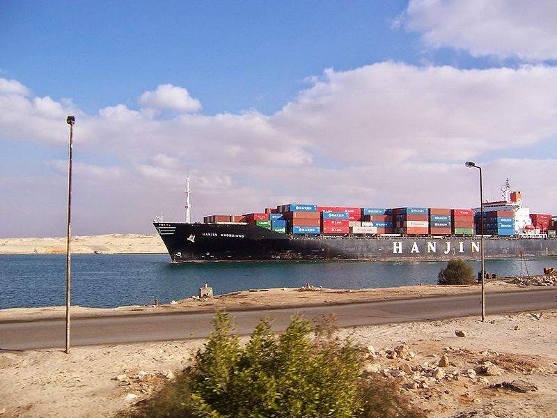 Container ship Hanjin Kaohsiung transiting the Suez Canal