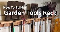 garden tools on homemade rack