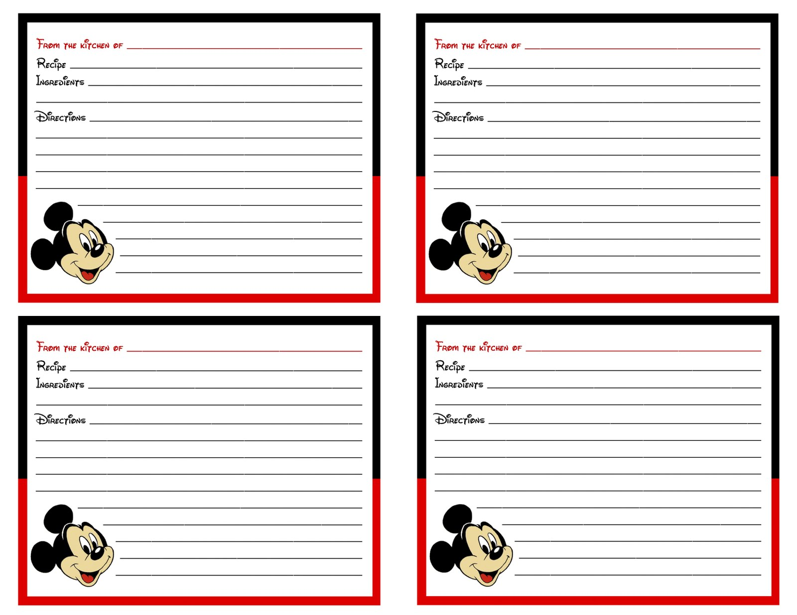 sweet  u2665 art  mickey mouse recipe cards