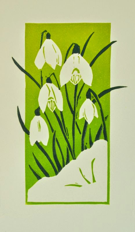 Snowdrops reduction linocut