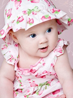 Picture of beautiful baby girl in birthday dress