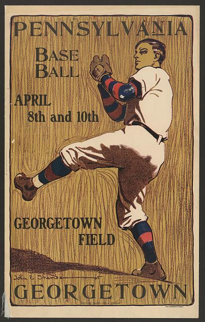 baseball, classic posters, free download, graphic design, retro prints, sports, vintage, vintage posters, Georgetown vs. Pennsylvania, Baseball - Vintage Baseball Sports Poster