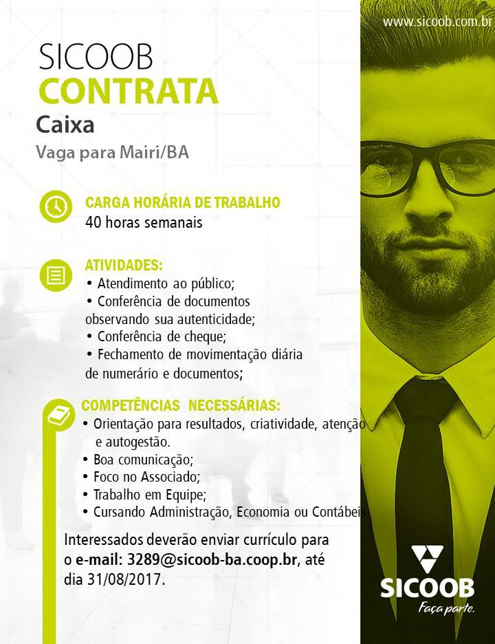 Sicoob Contrata - Vaga para Mairi/BA