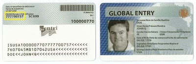 Example of Global Entry Card