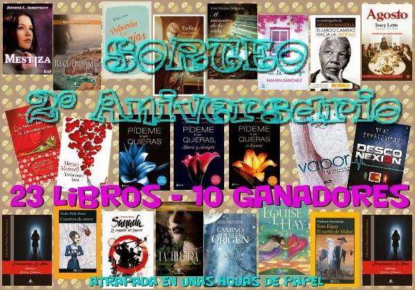 http://www.atrapadaenunashojasdepapel.com/2014/01/sorteo-2-aniversario-23-libros-10.html