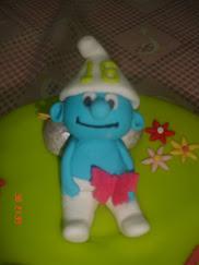 Bolo de aniversário dos Smurfs