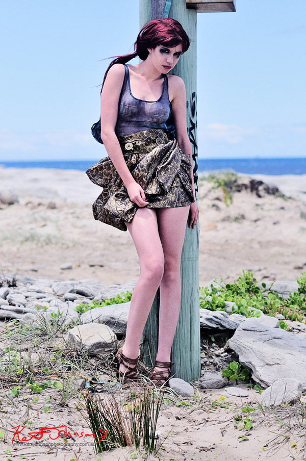 Melinda Johns high fashion shoot with lunar landscape, Kurnell Sydney.