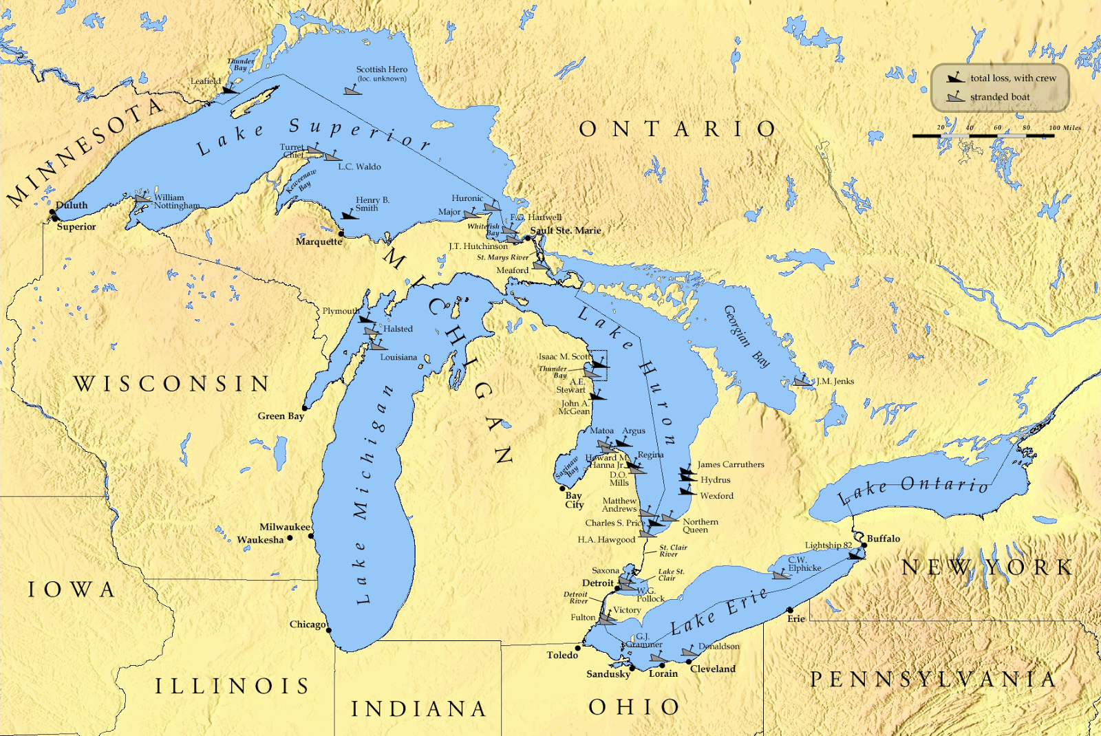 they are five the lake superior michigan huron erie and the lake ontario between the lakes erie and ontario you can see beautiful and well known