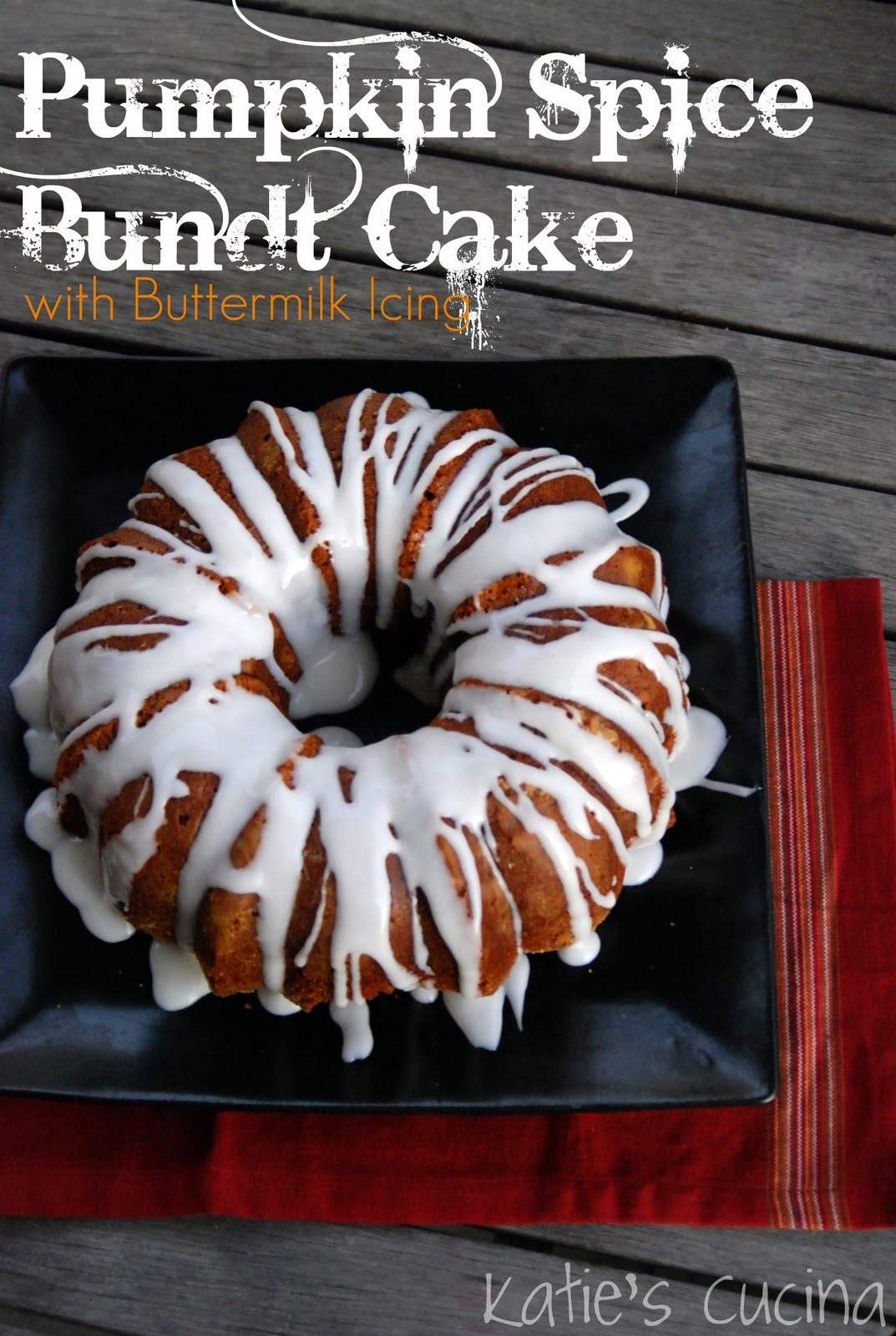 Pumpkin Spice Bundt Cake with Buttermilk Icing - Katie's Cucina