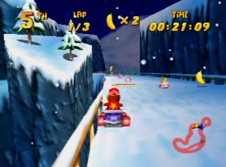 Diddy Kong driving in snow level in Nintendo 64 game Diddy Kong Racing