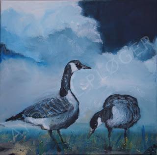 marsk,gæs,gås,,goos,gees,himmel,heaven,sky,birds,fuglekunst,acryl,art,paint,blue,canadagæs,
