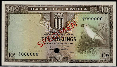 Zambia banknotes currency money 10 Shillings banknote