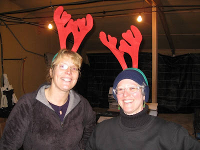 Me and Kirsty posing with our festive antler headgear