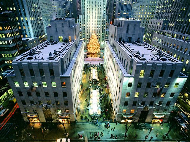 Vista del arbol en nueva york desde un edificio alto