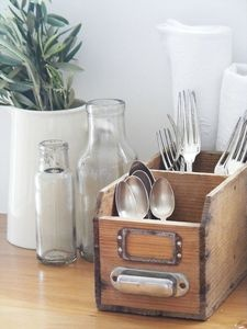 These small wooden drawers are great for storing silverware.