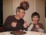 Dom and his Uncle Enjoying Chocolate Biscotti