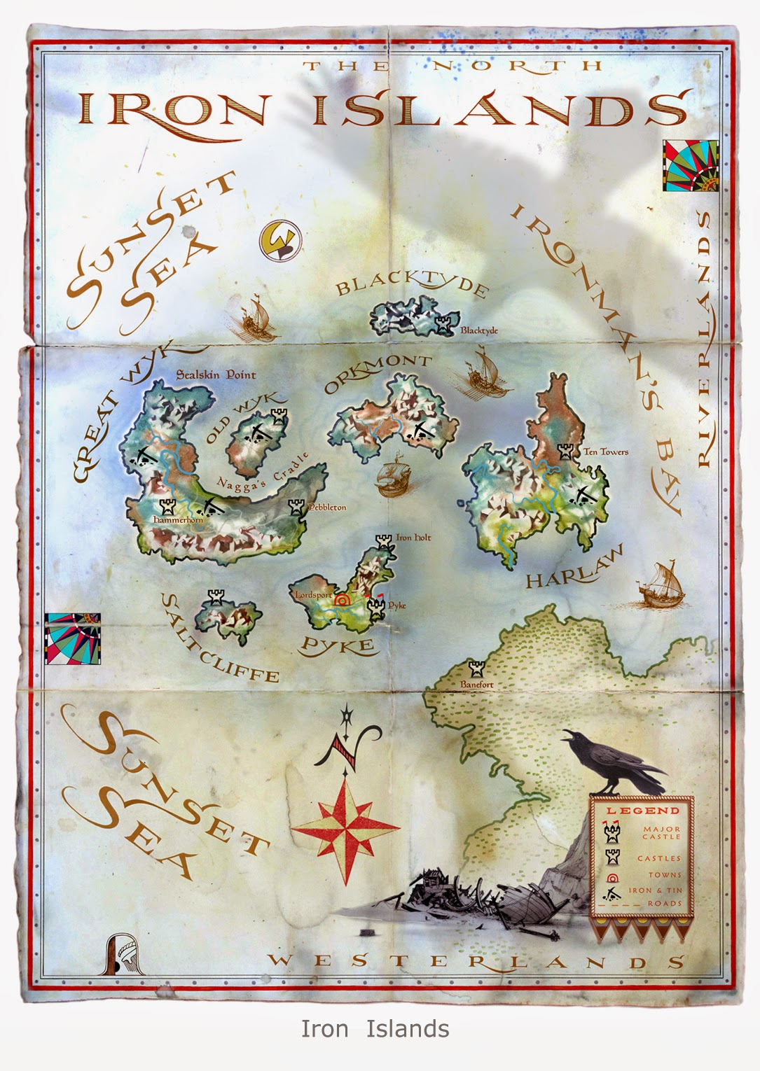 Map illustration by Michael Gellatly of the fictional land of Iron Islands from George R. R. Martin's The World of Ice and Fire. The Untold History of Westeros and The Game of Thrones
