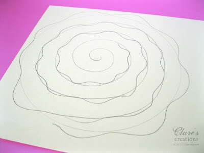 Shabby rolled spiral flower tutorial lots of photos for Rolled paper roses template