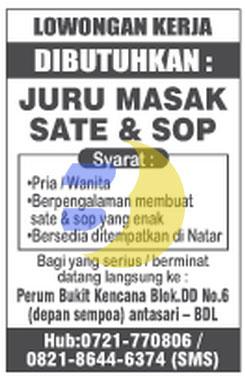 Dibutuhkan Juru Masak Lampung