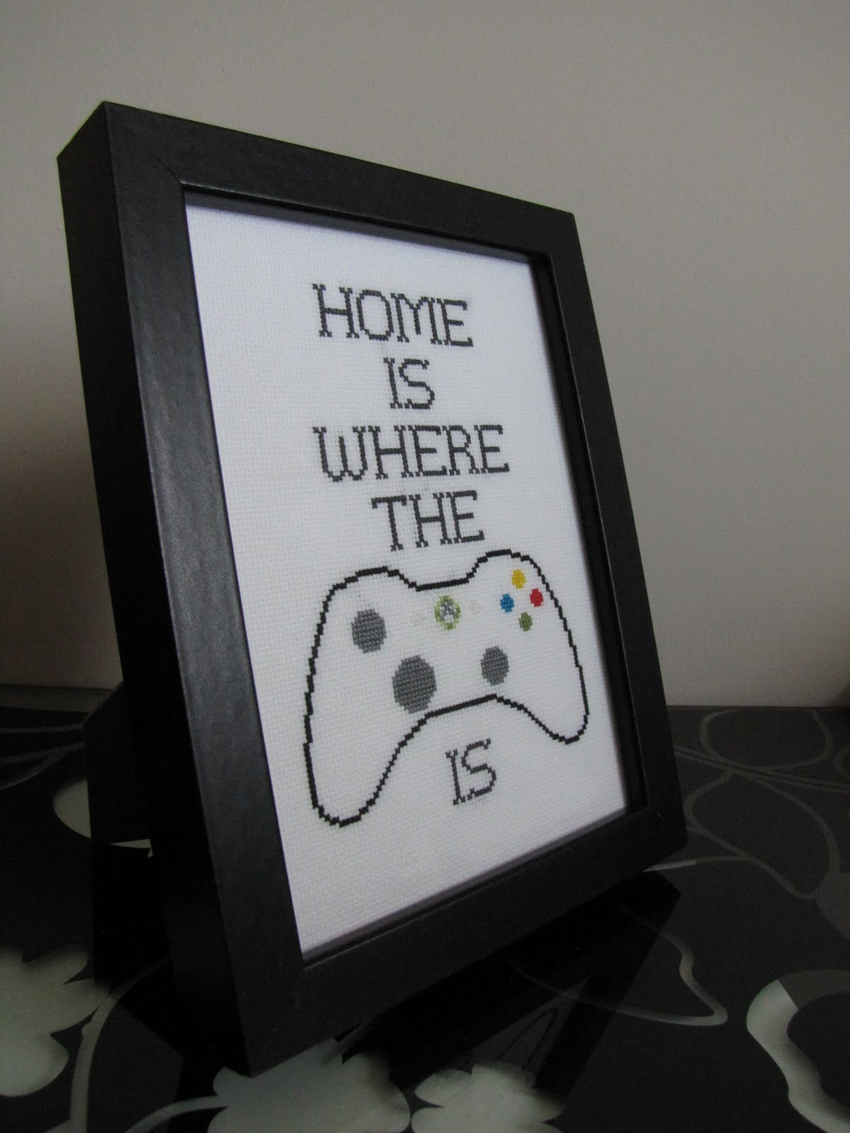 Sewn by rosie home is where the xbox cross stitch