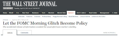 "image from screen shot of the Wall Street Journal's web page where Alberto A Lopez's article ""Let the FOMC Morning Glitch Become Policy"" is hosted"