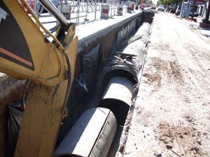Av. Mosconi y Av. San Martín - Construcción de Desagües - Abril 2009.