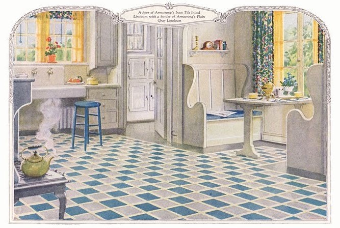 1920s kitchen from an armstrong linoleum ad  breakfast nook butler u0027s pantry free standing stove  would that my kitchen were this big  find the image here  jeni sandberg   20th century design  kitchen archaeology      rh   barkingsandsvintage blogspot com