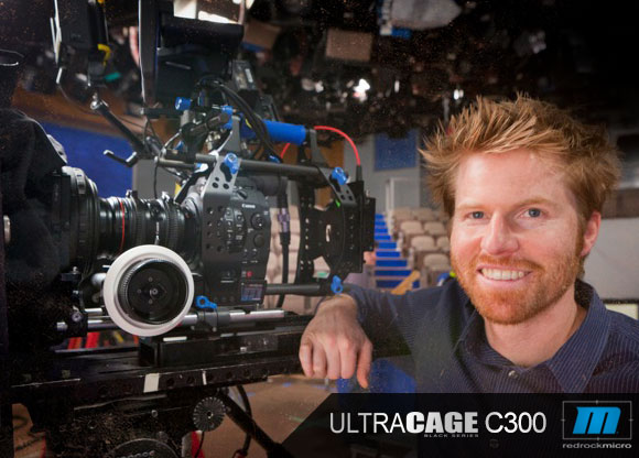 Alex Buono on set at SNL with Redrock ultraCage