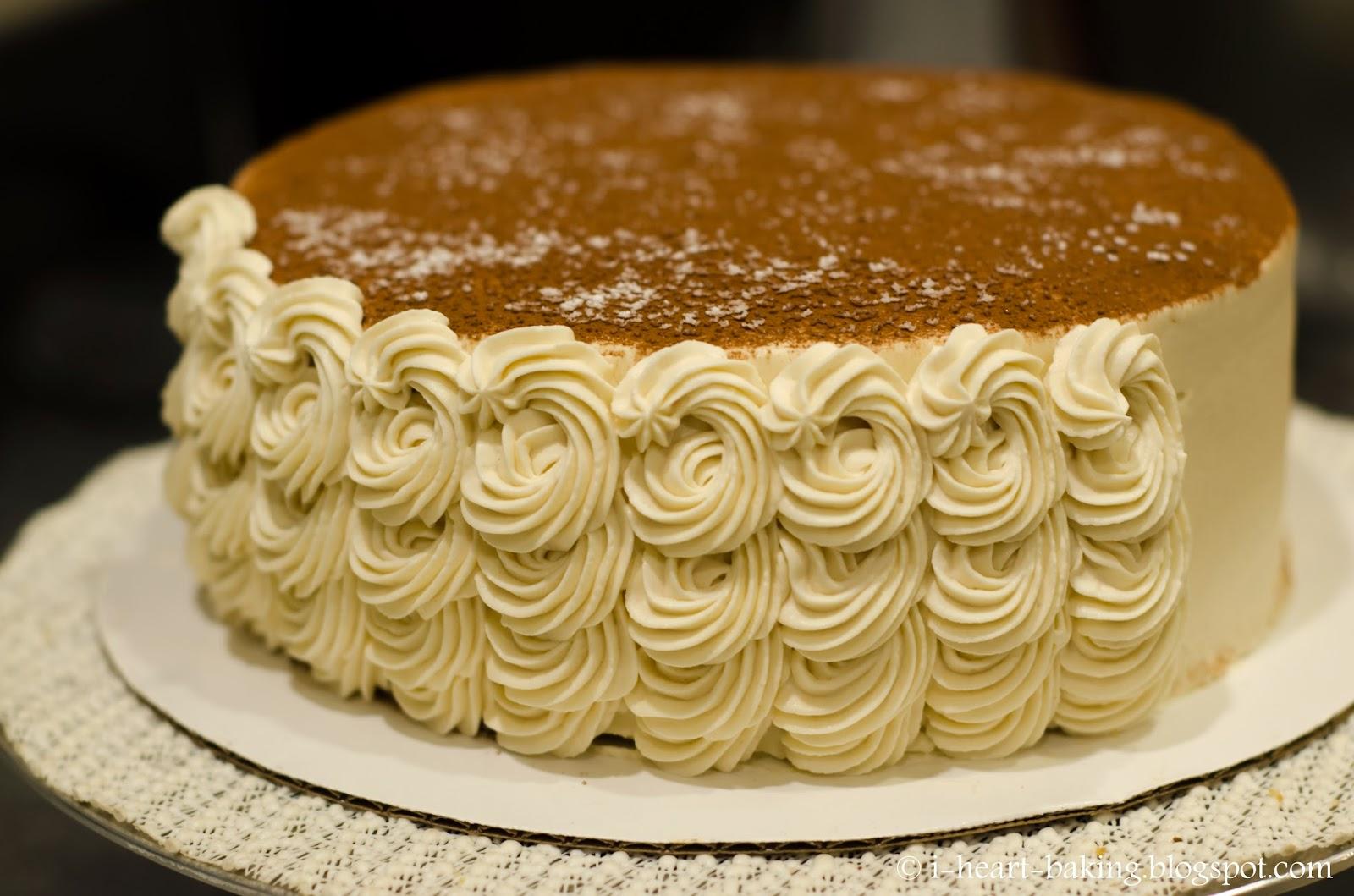 i heart baking tiramisu birthday cake with piped swirl ruffle sides