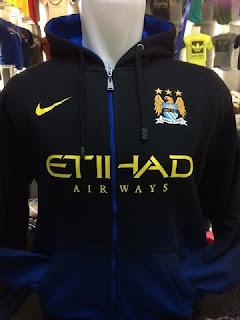 gambar detail toko jual jaket bola enkosa sport Jaket Hoodie Manchester City warna hitam biru terbaru musim 2015/2016