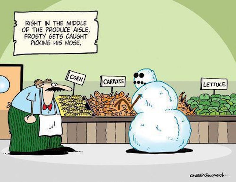 Frosty the snowman gets caught picking his nose right in the produce aisle, snow, nose picker, cartoon