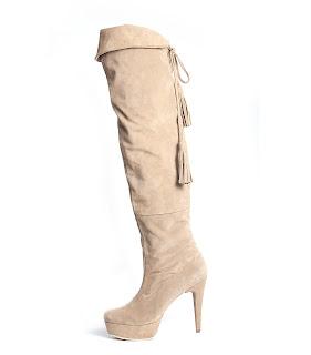 cizme albe piele intoarsa peste genunchi cu platforma si ciucuri