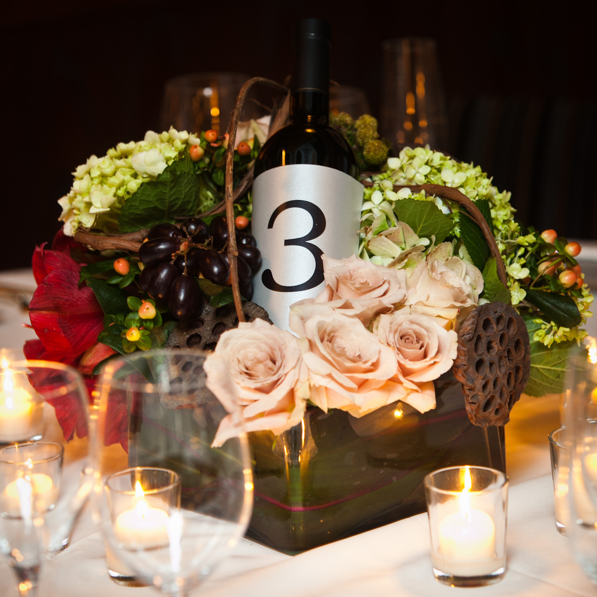 Shawn rabideau events and design 40 and fabulous for Wine themed centerpieces