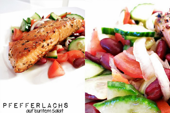 Pfefferlachs auf buntem Salat