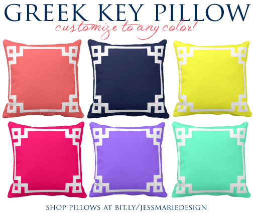 Jessica Marie Design Blog: Greek Key Pillows: Customize to ANY Color!