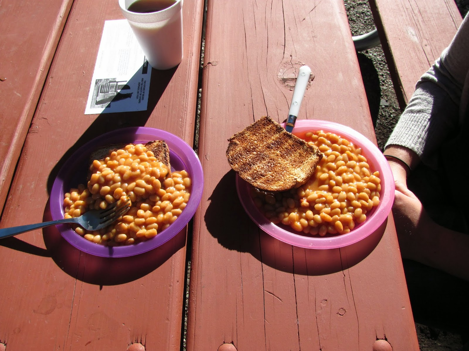 Beans and toast for breakfast at Two Medicine in Glacier National Park in Montana