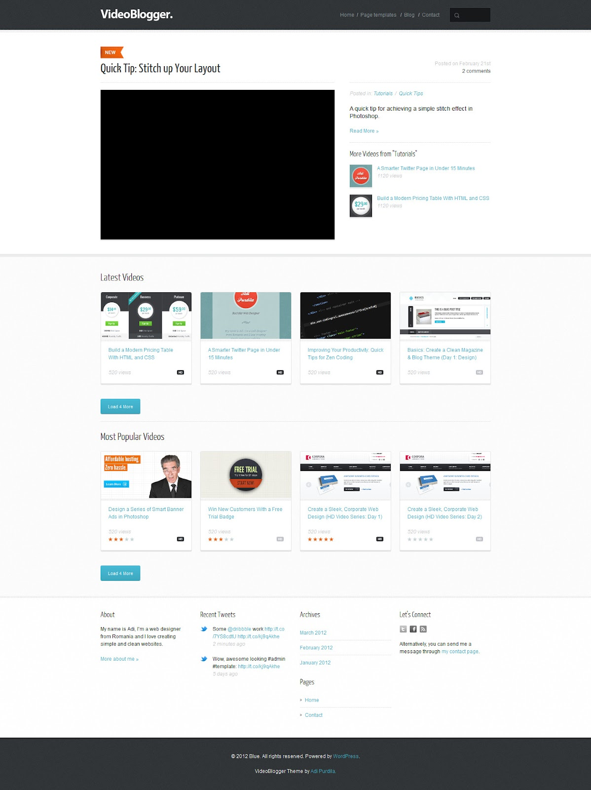 VideoBlogger-Responsive-HTML-Video-Blog-Theme
