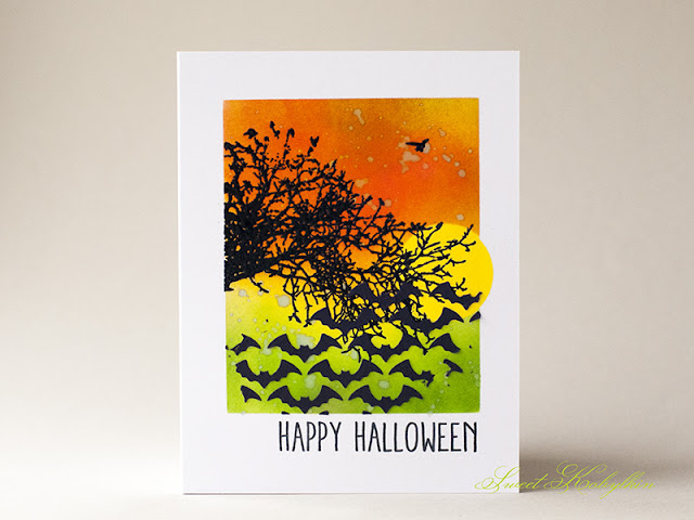 Halloween Card with Batground Layering Stencil from Tim Holtz by Sweet Kobylkin