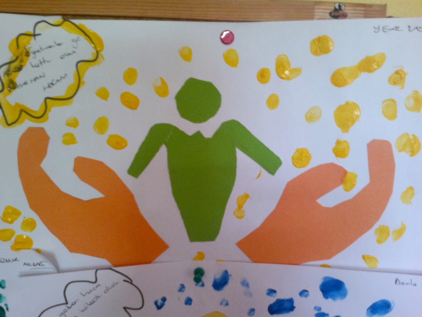 Öğretmenler günü parmak baskısı ve öğretmene duygular
