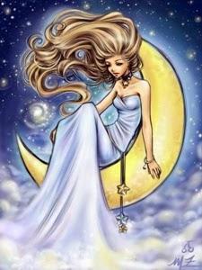 dibujo de un hada en la luna