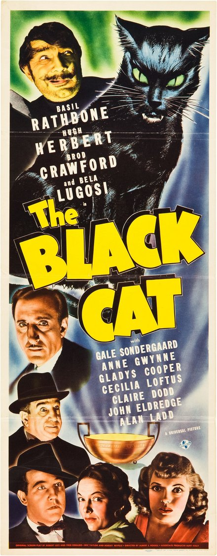 theater, movies, vintage, vintage posters, graphic design, free download, retro prints, classic posters, The Black Cat, Rathbone, Herbert, Crawford, Lugosi - Vintage Movie Poster