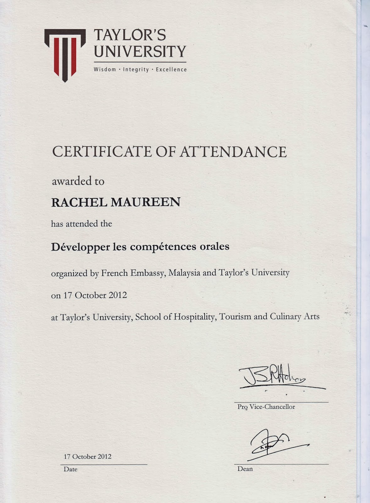 Hi universe welcome to my world non academic activities certificate of attendance arranged by french embassy for malaysia 1betcityfo Images