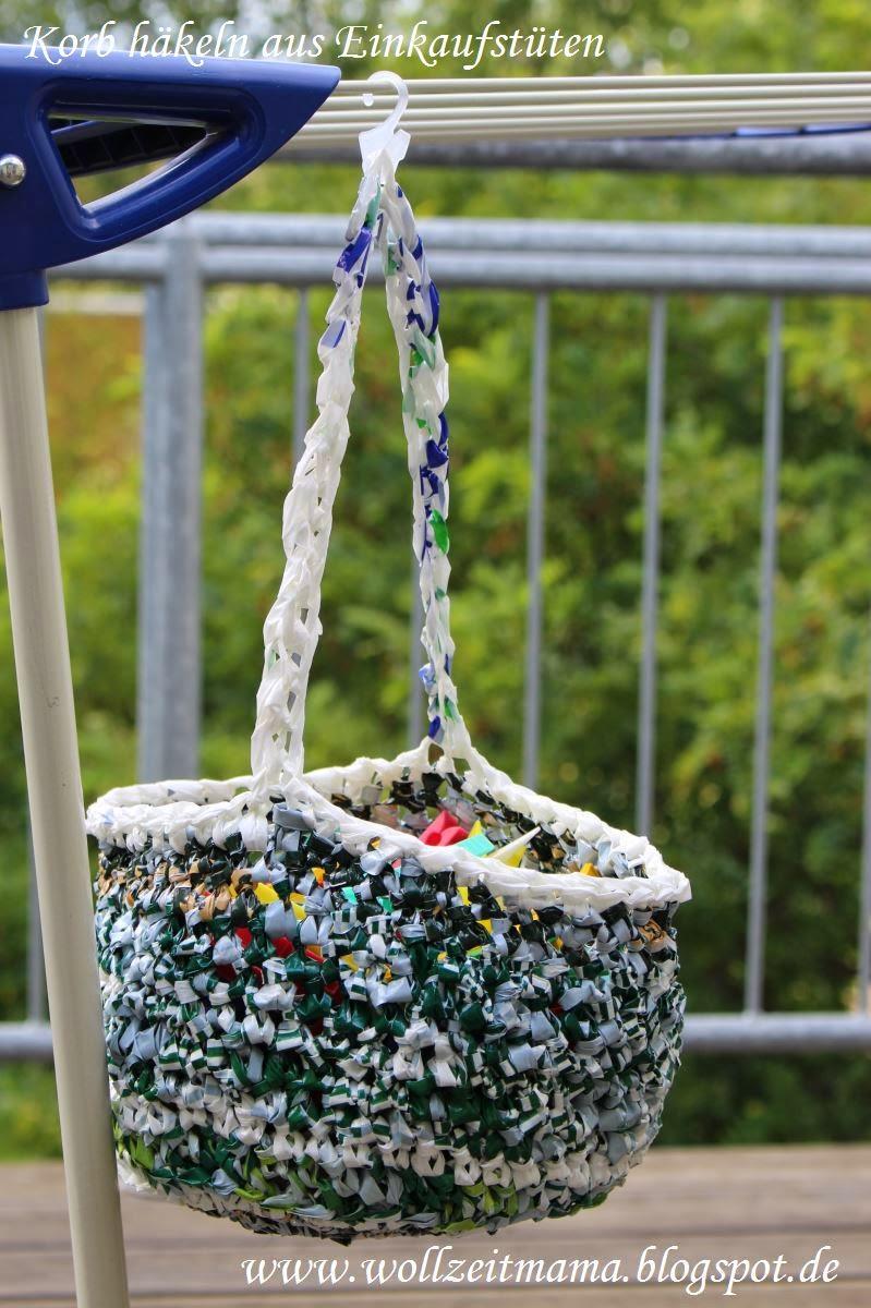 Korb häkeln aus Tüten, kostenlose Anleitung