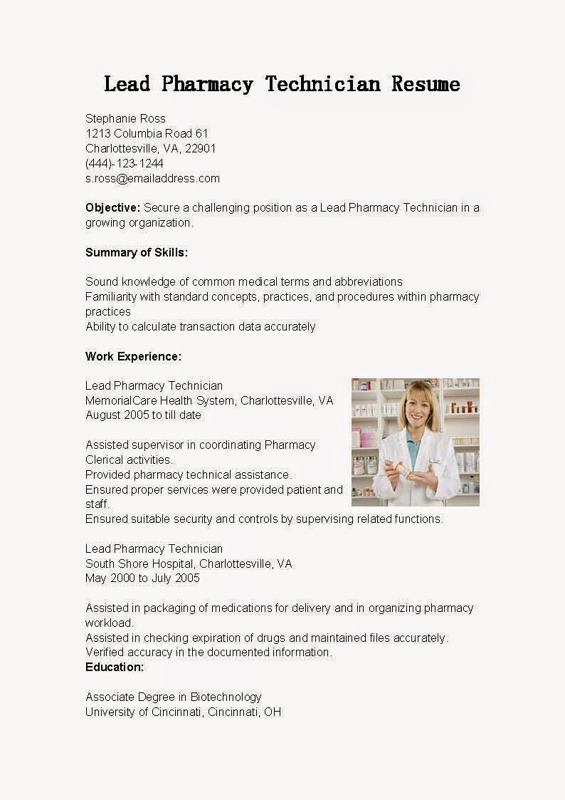resume samples  lead pharmacy technician resume sample