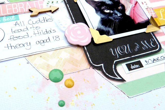 Cherish scrapbook layout Tracee Provis my scraps & more bo bunny youre invited 2 crafty chipboard 03