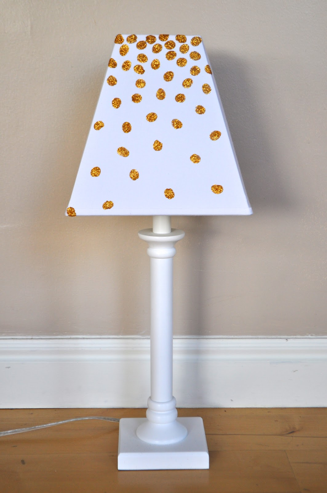 I am momma hear me roar polkadot glittered lamp shade i made sure to clean off the shade well first it was a bit dusty and the dust would also have ruined the project making the dots fall off aloadofball