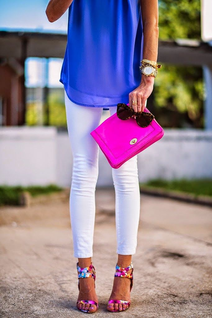 Pink Purse + Blue Shirt + Cute Heels