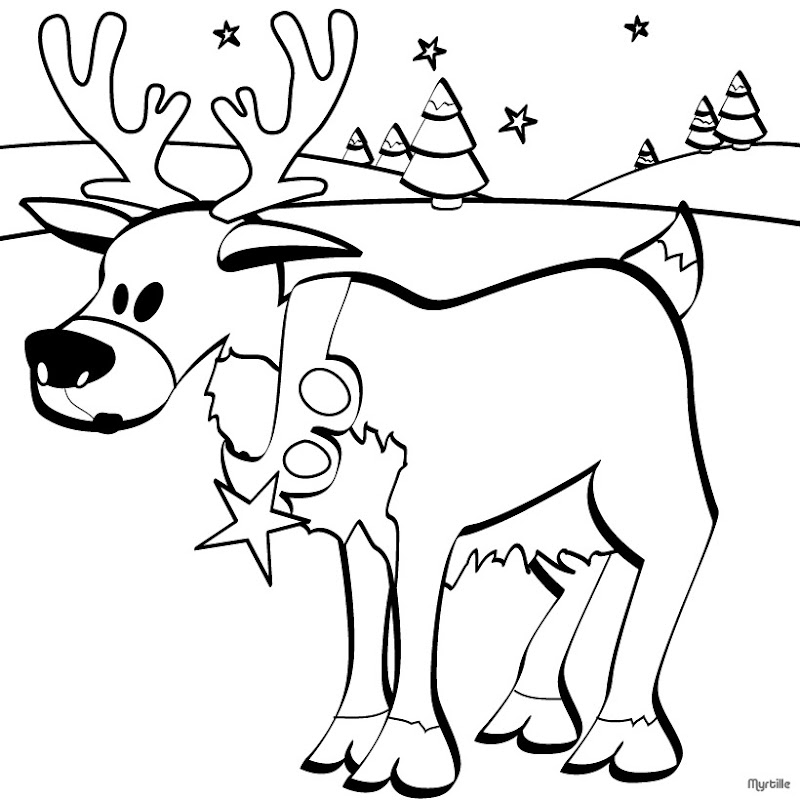 13 Christmas Reindeer Coloring Pages title=