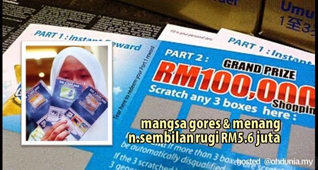 Mangsa Peraduan Gores Dan Menang N.Sembilan Rugi RM5.6 Juta