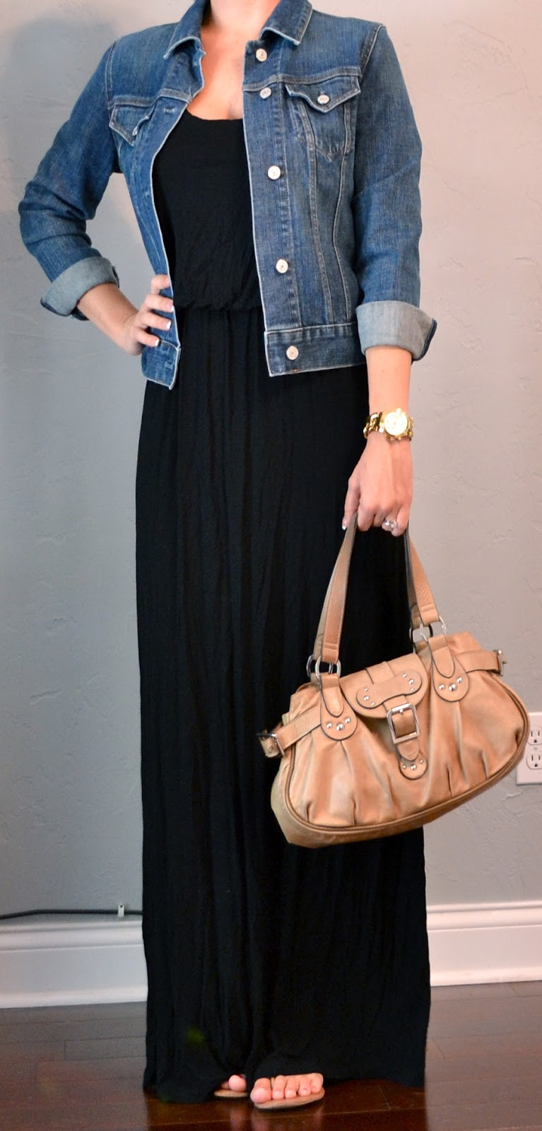 outfit post black maxi dress jean jacket outfit posts